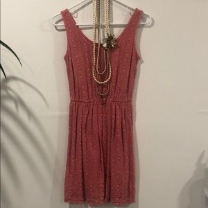 Coral dress with necklace